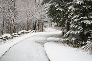 Franconia Notch State Park - Franconia Notch Bike Path near Echo Lake in Franconia, New Hampshire USA during the autumn months after a dusting of snow.