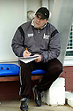 05/02/2005  Copyright Pic : James Stewart.File Name : jspa04_qots_v_dundee_utd.DUNDEE UTD MANAGER IAN MCCALL WORKS OUT HHIS TEAM'S TACTICS IN THE DUG OUT AN HOUR BEFORE THE START OF THE SCOTTISH CUP 4TH ROUND CLASH AGAINST QUEEN OF THE SOUTH...Payments to :.James Stewart Photo Agency 19 Carronlea Drive, Falkirk. FK2 8DN      Vat Reg No. 607 6932 25.Office     : +44 (0)1324 570906     .Mobile   : +44 (0)7721 416997.Fax         : +44 (0)1324 570906.E-mail  :  jim@jspa.co.uk.If you require further information then contact Jim Stewart on any of the numbers above.........A