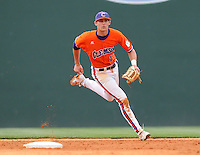 May 11, 2009: Shortstop Brad Miller (13) of the Clemson Tigers chases a grounder in a game against the Furman Paladins at Fluor Field at the West End in Greenville, S.C. Photo by: Tom Priddy/Four Seam Images