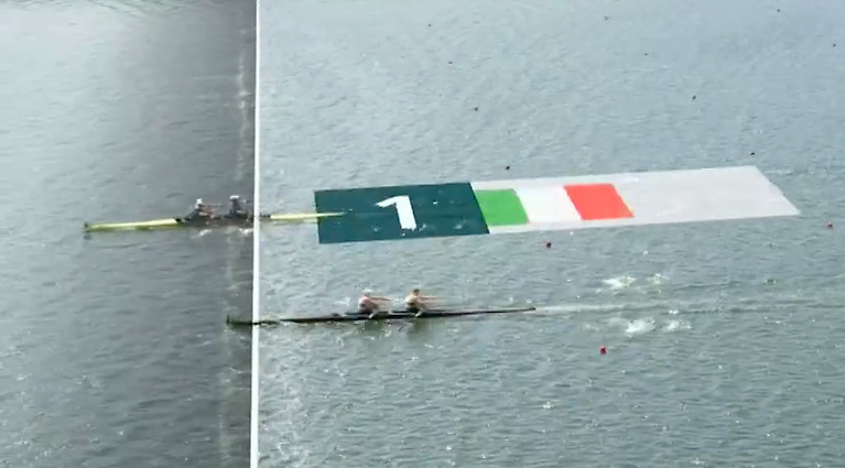 It's Gold! A screenshot of the finish shows Ireland as clear winners in the men's double sculls in Tokyo