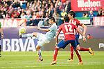 Atletico de Madrid's Filipe Luis and Augusto and Celta de Vigo's Nolito during La Liga Match at Vicente Calderon Stadium in Madrid. May 14, 2016. (ALTERPHOTOS/BorjaB.Hojas)