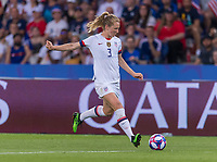 PARIS,  - JUNE 28: Sam Mewis #3 passes the ball during a game between France and USWNT at Parc des Princes on June 28, 2019 in Paris, France.