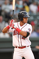Left fielder Pedro Castellanos (41) of the Greenville Drive bats in Game 2 of the South Atlantic League Southern Division Playoff against the Charleston RiverDogs on Friday, September 8, 2017, at Fluor Field at the West End in Greenville, South Carolina. Charleston won, 2-1, and the series is tied at one game each. (Tom Priddy/Four Seam Images)