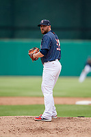Syracuse Chiefs relief pitcher David Goforth (32) gets ready to deliver a pitch during a game against the Lehigh Valley IronPigs on May 20, 2018 at NBT Bank Stadium in Syracuse, New York.  Lehigh Valley defeated Syracuse 5-2.  (Mike Janes/Four Seam Images)