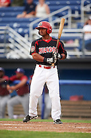 Batavia Muckdogs outfielder Travis Brewster (46) at bat during a game against the Mahoning Valley Scrappers on June 22, 2015 at Dwyer Stadium in Batavia, New York.  Mahoning Valley defeated Batavia 15-11.  (Mike Janes/Four Seam Images)
