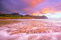 Maha'ulepu Beach, at sunrise, Mount Haupu in background, Kauai, Hawaii, USA, Pacific Ocean