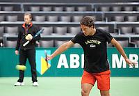 05-02-11, Tennis, Netherlands, Rotterdam, ABNAMROWTT 2011, Jesse Huta Galung traint met zijn coach van Hulst