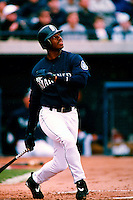 Ken Griffey, jr. of the Seattle Mariners participates in a Major League Baseball Spring Training game during the 1998 season in Phoenix, Arizona. (Larry Goren/Four Seam Images)