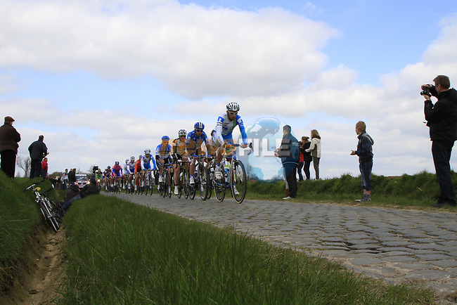The breakaway group on the 2nd cobbled sector at Doorne during the 96th edition of The Tour of Flanders 2012, running 256.9km from Bruges to Oudenaarde, Belgium. 1st April 2012. <br /> (Photo by Steven Franzoni/NEWSFILE).