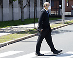 MIDDLETOWN, CT. - 06 May 2021-050621SV06-State police sergeant John McDonald exits Superior Court in Middletown Thursday. McDonald pleaded no contest to two counts of reckless endangerment for the Oxford crash<br /> Steven Valenti Republican-American