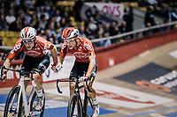 handsling by Tosh Van der Sande (BEL/Lotto-Soudal) for teammate Jasper de Buyst (BEL/Lotto-Soudal)<br /> <br /> zesdaagse Gent 2019 - 2019 Ghent 6 (BEL)<br /> day 2<br /> <br /> ©kramon