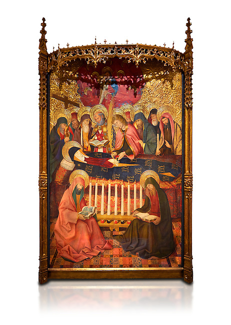 Gothic altarpiece of the Dormition of the Madonna (Dormicio de la Mare de Dieu) by Pere Garcia de Benavarri, circa 1460-1465, tempera and gold leaf on wood.  National Museum of Catalan Art, Barcelona, Spain, inv no: MNAC  64040. Against a white background.