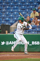 Tulane Green Wave Collin Burns (2) bats during a game against the USF Bulls on May 27, 2021 at BayCare Ballpark in Clearwater, Florida.  (Mike Janes/Four Seam Images)