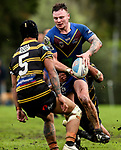 Nicholas Wilson of Howick on the charge.  Fox Memorial Rugby League, Northcote Tigers v Howick Hornets, Birkenhead War Memorial Park Auckland, Saturday 22nd July 2017. Photo: Simon Watts / www.bwmedia.co.nz