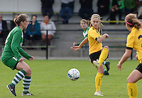 20151024 - ZWEVEZELE , BELGIUM : Manon De Bart (r) pictured with Britt Berghmans (left) during a soccer match between the women teams of SKV Zwevezele Ladies and KSOC Maria Ter Heide  , during the eight matchday in the Third League - Derde Nationale season, Saturday 24 October 2015 . PHOTO DAVID CATRY