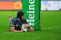 Dan Evans of Ospreys scores his sides first try during the Heineken Champions Cup Round 5 match between the Ospreys and Saracens at the Liberty Stadium in Swansea, Wales, UK. Saturday January 11 2020.
