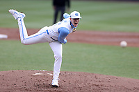 CHAPEL HILL, NC - FEBRUARY 27: Max Carlson #35 of North Carolina throws a pitch during a game between Virginia and North Carolina at Boshamer Stadium on February 27, 2021 in Chapel Hill, North Carolina.
