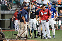 July 15, 2009: Nashville Sounds' Brendan Katin takes batting practice prior to the 2009 Triple-A All-Star Home Run Derby at PGE Park in Portland, Oregon.