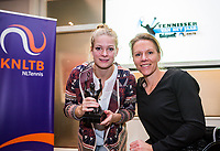 Rotterdam, Netherlands, December 17, 2017, Topsportcentrum, Ned. Loterij NK Tennis, Tennisplayer of the year award, Esther Vergeer presents the wheelchair player of the year to Dide de Groot<br /> Photo: Tennisimages/Henk Koster