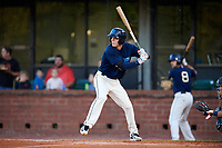 Mobile BayBears second baseman Hutton Moyer (11) at bat during a game against the Pensacola Blue Wahoos on April 25, 2017 at Hank Aaron Stadium in Mobile, Alabama.  Mobile defeated Pensacola 3-0.  (Mike Janes/Four Seam Images)