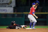 Buffalo Bisons second baseman Jon Berti (8) shows the ball after tagging out Engelb Vielma (5) attempting to steal second during a game against the Rochester Red Wings on August 25, 2017 at Frontier Field in Rochester, New York.  Buffalo defeated Rochester 2-1 in eleven innings.  (Mike Janes/Four Seam Images)