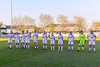 line-up Club Brugge ( Nicky Van Den Abbeele (28) , Jody Vangheluwe (22) , Isabelle Iliano (18) , Frieke Temmerman (17) , Marie Minnaert (13) , Raquel Viaene (5) , Angel Kerkhove (11) , Celien Guns (10) , Elle Decorte (7) , goalkeeper Elke Geeraert (25) , Ellen Martens (2) ) before a female soccer game between  AA Gent Ladies and Club Brugge YLA on the third matchday of play off 1 in the 2020 - 2021 season of Belgian Scooore Womens Super League , friday 23 th of April 2020  in Oostakker , Belgium . PHOTO SPORTPIX.BE   SPP   STIJN AUDOOREN