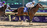 November 3, 2018: Audible #3, ridden by Javier Castellano, wins the 1st running of the Qatar Cherokee Run Stakes on Breeders' Cup World Championship Saturday at Churchill Downs on November 3, 2018 in Louisville, Kentucky. Candice Chavez/Eclipse Sportswire/CSM