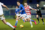 St Johnstone v Hamilton Accies…30.12.20   McDiarmid Park     SPFL<br />Callum Booth is tracked by Lee Hodson<br />Picture by Graeme Hart.<br />Copyright Perthshire Picture Agency<br />Tel: 01738 623350  Mobile: 07990 594431