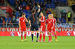 UEFA European Championship at Cardiff City Stadium - Wales v Cyprus : <br /> Gareth Bale is shown a yellow caerd by the referee in the second half.
