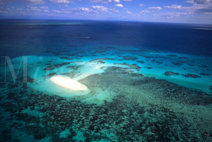 Beautiful Great Barrier Reef from plane near Cairns Queensland Australia