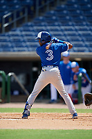 Toronto Blue Jays Samad Taylor (3) at bat during an Instructional League game against the Philadelphia Phillies on September 23, 2019 at Spectrum Field in Clearwater, Florida.  (Mike Janes/Four Seam Images)