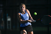 Mount Saint Mary's Abby Whittaker hits, Monday, October 11, 2021 during the 6A state girls and boys tennis tournament at Memorial Park in Bentonville. Check out nwaonline.com/211012Daily/ for today's photo gallery. <br /> (NWA Democrat-Gazette/Charlie Kaijo)