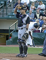 July 24, 2004:  Catcher Dane Sardinha of the Louisville Bats, Triple-A International League affiliate of the Cincinnati Reds, during a game at Frontier Field in Rochester, NY.  Photo by:  Mike Janes/Four Seam Images