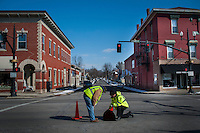 City workers inspect sewers in Uptown Westerville.