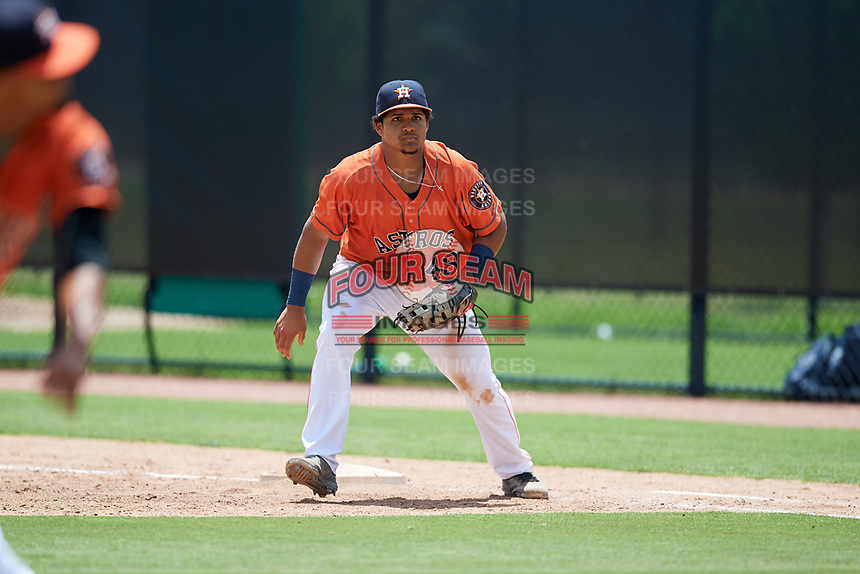 GCL Astros first baseman Juan Paulino (48) during a game against the GCL Marlins on August 5, 2018 at FITTEAM Ballpark of the Palm Beaches in West Palm Beach, Florida.  GCL Astros defeated GCL Marlins 2-1.  (Mike Janes/Four Seam Images)