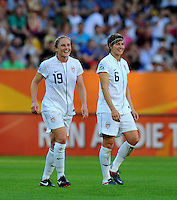 Rachel Buehler (l) and Amy Le Peilbet of team USA celebrate during the FIFA Women's World Cup at the FIFA Stadium in Dresden, Germany on June 28th, 2011.