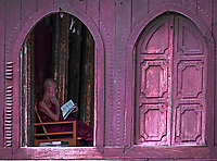Monks at the Shwe Yan Pyay Monastery, made entirely out of Teak, near Inle Lake, Myanmar, Burma