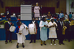 The Church of God, Brighton convention. Dorothy Cagle the wife of Overseer Jesse C Cagle, who was a retired Bishop in the Church of God of Prophecy based in the USA. 1990 England.