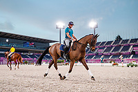 AUS-Stuart Tinney and Leporis. The Australian Equestrian Team - Eventing, do their evening familiarisations prior to competition at the Equestrian Park. Tokyo 2020 Olympic Games. Monday 26 July 2021. Copyright Photo: Libby Law Photography