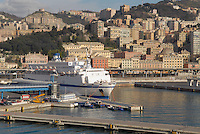 - houses of Genoa seen from the harbor, ferries terminal....- le case di Genova viste dal porto, terminal traghetti