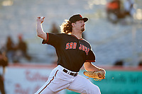 San Jose Giants starting pitcher Garrett Cave (32) during a California League game against the Visalia Rawhide on April 12, 2019 at San Jose Municipal Stadium in San Jose, California. Visalia defeated San Jose 6-2. (Zachary Lucy/Four Seam Images)