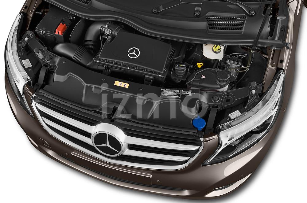 Car Stock 2015 Mercedes Benz V-CLASS AVANTGARDE 5 Door Minivan 2WD Engine high angle detail view