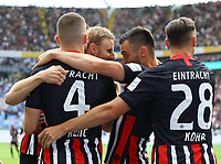 celebrate the goal, Torjubel zum 1:0 von Martin Hinteregger (Eintracht Frankfurt) mit David Abraham (Eintracht Frankfurt), Danny da Costa (Eintracht Frankfurt),  Dominik Kohr (Eintracht Frankfurt), Ante Rebic (Eintracht Frankfurt) - 18.08.2019: Eintracht Frankfurt vs. TSG 1899 Hoffenheim, Commerzbank Arena, 1. Spieltag Saison 2019/20 DISCLAIMER: DFL regulations prohibit any use of photographs as image sequences and/or quasi-video.