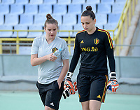 20190306 - LARNACA , CYPRUS :  Belgian goalkeepercoach Natasha Ribbens and Nicky Evrard pictured during a women's soccer game between  Austria and the Belgian Red Flames  , on wednesday 6 March 2019 at the GSZ  Stadium in Larnaca , Cyprus . This is the last game for both teams during the Cyprus Womens Cup 2019 which decides places 3 or 4, The Cyprus Women's cup is a prestigious women soccer tournament as a preparation on the Uefa Women's Euro 2021 qualification duels. PHOTO SPORTPIX.BE | DAVID CATRY