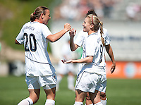 Amy Rodriquez, right is congratulated by Abby Wambach, left, after scoring a goal in the first half of a USA 3-0 victory over Mexico in San Diego, California, Sunday, March 28, 2010.