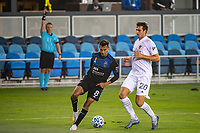 SAN JOSE, CA - SEPTEMBER 13: Chris Wondolowski #8 of the San Jose Earthquakes and Nick DePuy #20 of the Los Angeles Galaxy during a game between Los Angeles Galaxy and San Jose Earthquakes at Earthquakes Stadium on September 13, 2020 in San Jose, California.