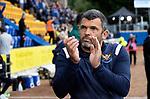 St Johnstone v Galatasaray…12.08.21  McDiarmid Park Europa League Qualifier<br />Saints boss Callum Davidson applauds the fans<br />Picture by Graeme Hart.<br />Copyright Perthshire Picture Agency<br />Tel: 01738 623350  Mobile: 07990 594431