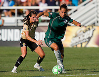 Saint Louis Athletica defender Nikki Cross (19) and FC Gold Pride midfielder/forward Brandi Chastain (6) during a WPS match at Anheuser-Busch Soccer Park, in St. Louis, MO, July 26, 2009.  The match ended in a 1-1 tie.