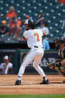 Andrew Fregia (7) of the Sam Houston State Bearkats at bat against the Vanderbilt Commodores in game one of the 2018 Shriners Hospitals for Children College Classic at Minute Maid Park on March 2, 2018 in Houston, Texas. The Bearkats walked-off the Commodores 7-6 in 10 innings.   (Brian Westerholt/Four Seam Images)