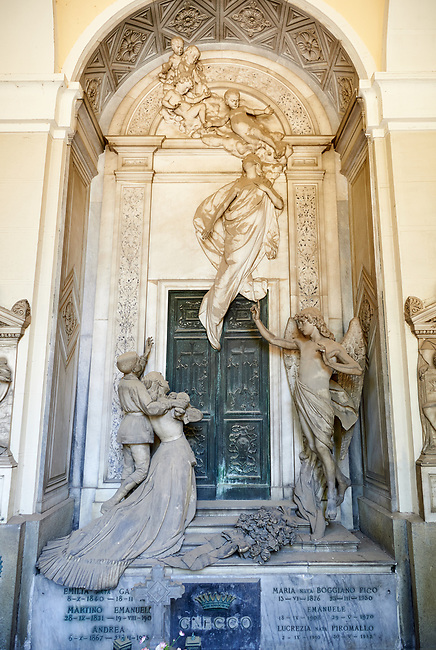 Picture and image  of the stone sculptures of two young siblings at the doors of heaven through which their mother had to go before them by Sculptor A. Rota 1882. The theme of the monument is sorrow but also of hope as an angel guides the sould of the mouring siblings mother to heaven. As is tytpical of the Borgeois realistic style everday clothes, hairstyle and natural gestures are used in the sulpture. Section A, no 42, The monumental tombs of the Staglieno Monumental Cemetery, Genoa, Italy